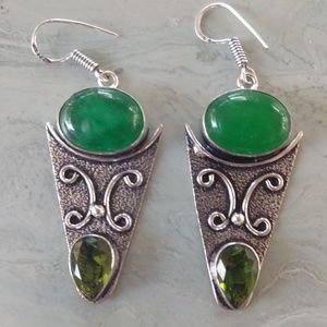 Nice aventurine amethyst stamped 925 earrings